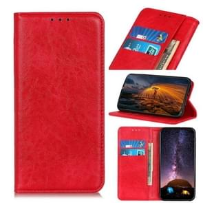 Voor iPhone 12 5 4 inch Magnetic Crazy Horse Texture Horizontale Flip Lederen case met Holder & Card Slots & Wallet(Rood)
