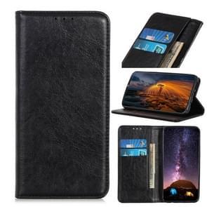 Voor iPhone 12 6 7 inch Magnetic Crazy Horse Texture Horizontale Flip Lederen case met Holder & Card Slots & Wallet(Zwart)