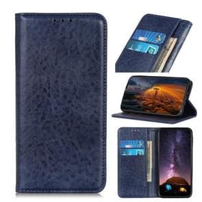 Voor iPhone 12 6 7 inch Magnetic Crazy Horse Texture Horizontale Flip Lederen case met Holder & Card Slots & Wallet(Blauw)