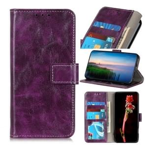 Voor iPhone 12 5 4 inch Retro Crazy Horse Texture Horizontale Flip Lederen case met Holder & Card Slots & Photo Frame & Wallet(Paars)