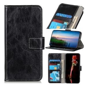 Voor iPhone 12 6 1 inch Retro Crazy Horse Texture Horizontale Flip Lederen case met Holder & Card Slots & Photo Frame & Wallet(Zwart)