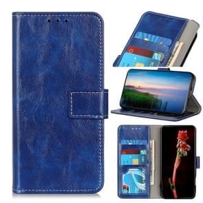 Voor iPhone 12 6 1 inch Retro Crazy Horse Texture Horizontale Flip Lederen case met Holder & Card Slots & Photo Frame & Wallet(Blauw)