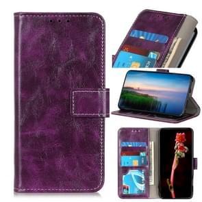 Voor iPhone 12 6 1 inch Retro Crazy Horse Texture Horizontale Flip Lederen case met Holder & Card Slots & Photo Frame & Wallet(Paars)