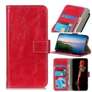 Voor iPhone 12 6 1 inch Retro Crazy Horse Texture Horizontale Flip Lederen case met Holder & Card Slots & Photo Frame & Wallet(Red)