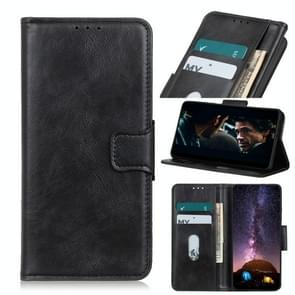 Voor iPhone 12 6 1 inch Mirren Crazy Horse Texture Horizontale Flip Lederen case met Holder & Card Slots & Wallet(Zwart)