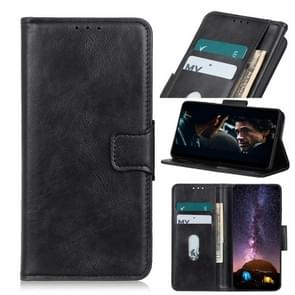 Voor iPhone 12 6 7 inch Mirren Crazy Horse Texture Horizontale Flip Lederen case met Holder & Card Slots & Wallet(Zwart)