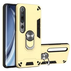 Voor Xiaomi Mi 10 5G / Mi 10 Pro 5G 2 in 1 Armour Series PC + TPU Beschermhoes met ringhouder(Goud)