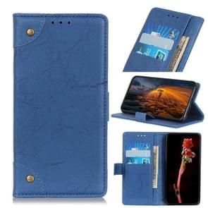 Voor iPhone 12 6 1 inch koperen gesp Retro Crazy Horse Texture Horizontale Flip Lederen case met Holder & Card Slots & Wallet(Blauw)