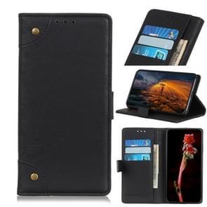 Voor iPhone 12 6 7 inch Koperen gesp Retro Crazy Horse Texture Horizontale Flip Lederen case met Holder & Card Slots & Wallet(Zwart)