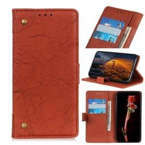 Voor iPhone 12 6 7 inch Koperen gesp Retro Crazy Horse Texture Horizontale Flip Lederen case met Holder & Card Slots & Wallet(Bruin)