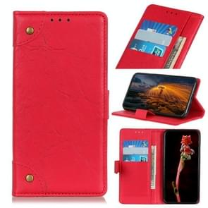 Voor iPhone 12 6 7 inch koperen gesp Retro Crazy Horse Texture Horizontale Flip Lederen case met Holder & Card Slots & Wallet(Rood)