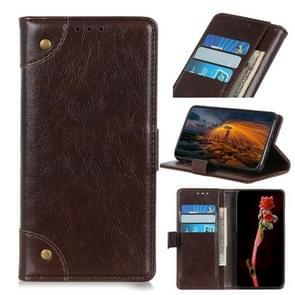 Voor iPhone 12 6 1 inch koperen gesp Nappa textuur horizontale flip lederen hoes met houder & kaartslots & portemonnee(koffie)