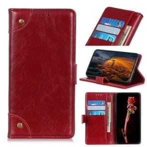 Voor iPhone 12 6 1 inch koperen gesp Nappa textuur horizontale flip lederen hoes met houder & kaartslots & portemonnee (rode wijn)