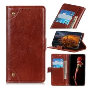 Voor iPhone 12 6 7 inch Koperen Gesp Nappa Textuur Horizontale Flip Lederen case met Holder & Card Slots & Wallet(Bruin)