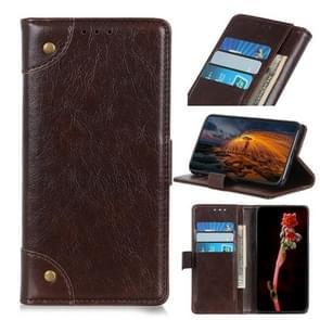 Voor iPhone 12 6 7 inch Koperen Gesp Nappa Textuur Horizontale Flip Lederen case met Holder & Card Slots & Wallet(Koffie)