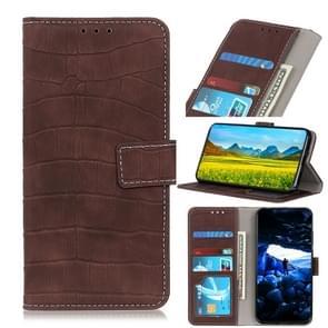 Voor iPhone 12 6 1 inch Crocodile Texture Horizontale Flip Lederen case met Holder & Card Slots & Wallet(Bruin)