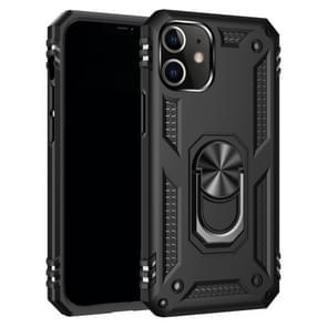 Voor iPhone 12 5 4 inch Schokbestendige TPU + pc-beschermhoes met 360 graden roterende houder(zwart)