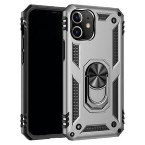 Voor iPhone 12 5 4 inch Schokbestendige TPU + pc-beschermhoes met 360 graden roterende houder(Zilver)