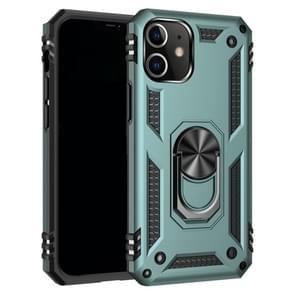 Voor iPhone 12 5 4 inch Schokbestendige TPU + pc-beschermhoes met 360 graden roterende houder (donkergroen)