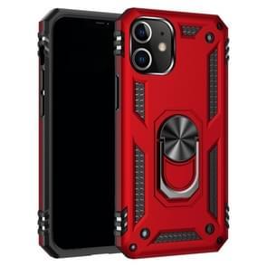 Voor iPhone 12 5 4 inch Schokbestendige TPU + pc-beschermhoes met 360 graden roterende houder(rood)