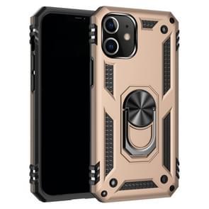 Voor iPhone 12 6 1 inch Schokbestendige TPU + pc-beschermhoes met 360 graden roterende houder(Goud)