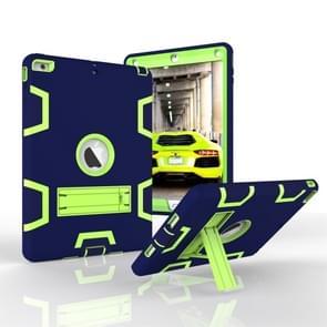 Voor iPad Air Shockproof PC + Siliconen beschermhoes  met houder (Navy Blue Yellow Green)
