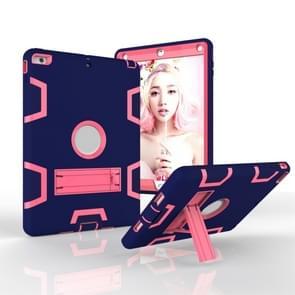 Voor iPad Air Shockproof PC + Siliconen beschermhoes  met houder (Navy Blue Rose)
