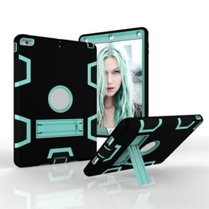 Voor iPad Air Shockproof PC + Siliconen beschermhoes  met houder (Zwart Mint Groen)
