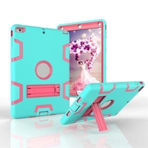 Voor iPad Air Shockproof PC + Siliconen beschermhoes  met houder (Green Rose)