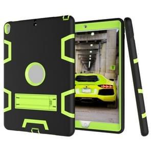 Voor iPad Pro 10 5 inch (2017) Schokbestendige pc + siliconen beschermhoes  met houder (zwart-geel groen)