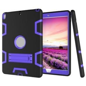 Voor iPad Pro 10 5 inch (2017) Schokbestendige pc + siliconen beschermhoes  met houder(Zwart paars)