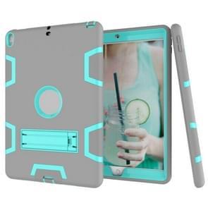Voor iPad Pro 10 5 inch (2017) Schokbestendige pc + siliconen beschermhoes  met houder (grijs mintgroen)