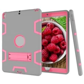 Voor iPad Pro 10 5 inch (2017) Schokbestendige pc + siliconen beschermhoes  met houder(Grijze Roos)