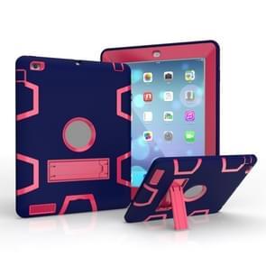 Voor iPad 4 / 3 / 2 / 1 Schokbestendige PC + Siliconen beschermhoes  met houder (Navy Blue Rose)