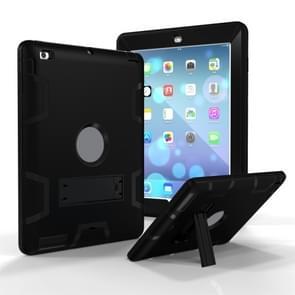 Voor iPad 4 / 3 / 2 / 1 Schokbestendige PC + Siliconen beschermhoes  met houder(zwart)