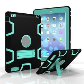 Voor iPad 4 / 3 / 2 / 1 Schokbestendige PC + Siliconen beschermhoes  met houder (Zwart Mint Groen)