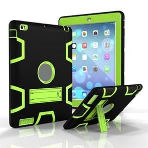 Voor iPad 4 / 3 / 2 / 1 Schokbestendige PC + Siliconen beschermhoes  met houder (Zwart geel groen)