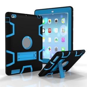 Voor iPad 4 / 3 / 2 / 1 Schokbestendige PC + Siliconen beschermhoes  met houder (Zwart Blauw)