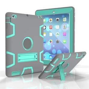 Voor iPad 4 / 3 / 2 / 1 Schokbestendige PC + Siliconen beschermhoes  met houder (Grijs Mint Groen)
