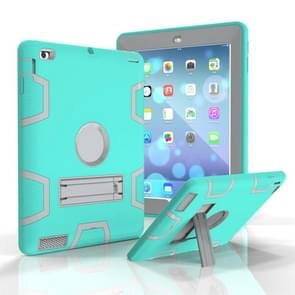 Voor iPad 4 / 3 / 2 / 1 Schokbestendige PC + Siliconen beschermhoes  met houder (Groen Grijs)