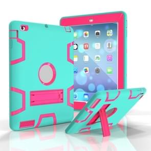 Voor iPad 4 / 3 / 2 / 1 Schokbestendige PC + Siliconen beschermhoes  met houder (Green Rose)