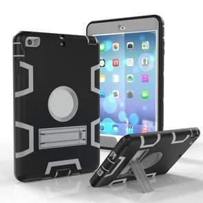Voor iPad Mini 3 / 2 / 1 Schokbestendige PC + Siliconen beschermhoes  met houder (Zwart Grijs)
