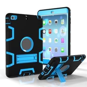 Voor iPad Mini 3 / 2 / 1 Schokbestendige PC + Siliconen beschermhoes  met houder(Zwart Blauw)