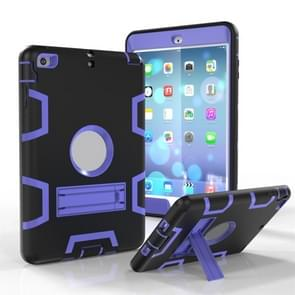 Voor iPad Mini 3 / 2 / 1 schokbestendige pc + siliconen beschermhoes  met houder(Zwart paars)