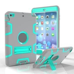 Voor iPad Mini 3 / 2 / 1 Schokbestendige PC + Siliconen beschermhoes  met houder (Grijs MintGroen)