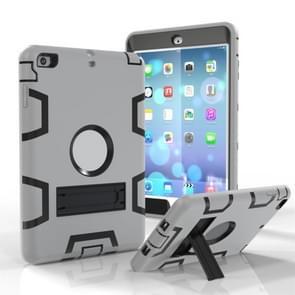 Voor iPad Mini 3 / 2 / 1 Schokbestendige PC + Siliconen beschermhoes  met houder(Grijs Zwart)