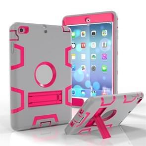 Voor iPad Mini 3 / 2 / 1 Schokbestendige PC + Siliconen beschermhoes  met houder(Grijze Roos)