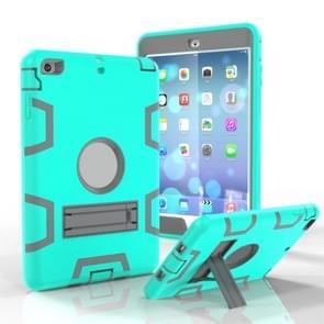 Voor iPad Mini 3 / 2 / 1 schokbestendige pc + siliconen beschermhoes  met houder(Groen Grijs)
