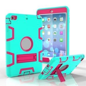 Voor iPad Mini 3 / 2 / 1 Schokbestendige PC + Siliconen beschermhoes  met houder(Green Rose)