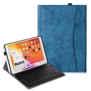 Voor iPad Air (2019) Marble Cloth Texture Horizontale Flip Lederen case met Pen Slot & Houder & Keyboard(Donkerblauw)
